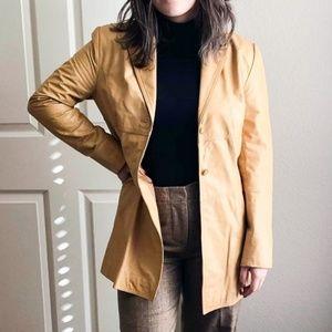 Express Retro Style Tan Faux Leather Jacket Size 8